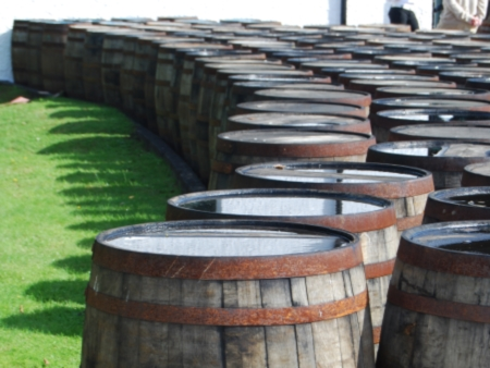 Whisky barrels at the Laphroaig Distillery, Islay